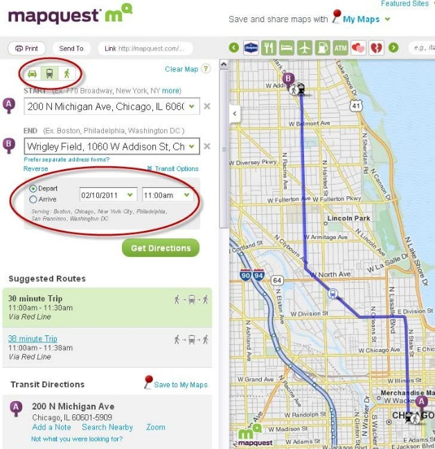 Walking Directions Now on MapQuest (Transit Too)