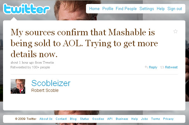 Scoble Tweets about Mashable