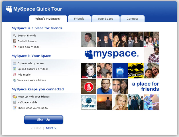 MySpace Quick Tour - Not a lot of emphasis on content