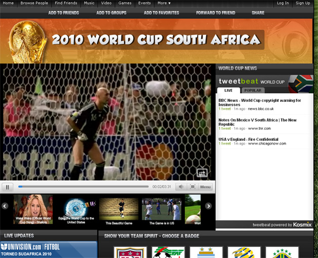 MySpace Offers Interactive World Cup Content Site