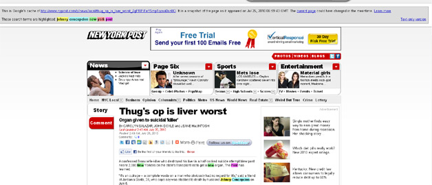 Google Cache keeps NY Post article