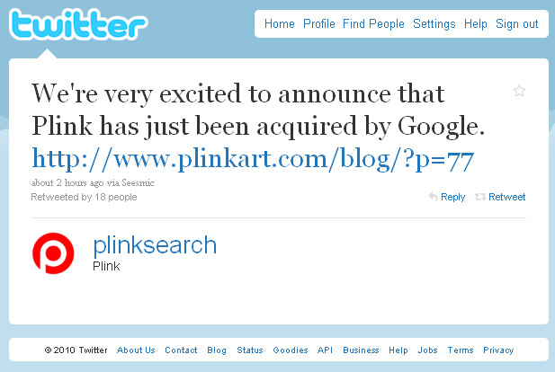 Plink Tweets about being acquired by Google - Visual Search company