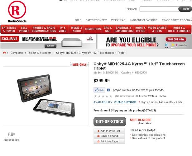 RadioShack Tablet Offering