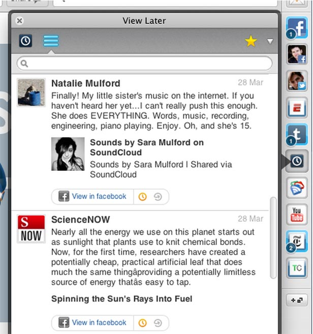 Rockmelt new view later feature in beta 2