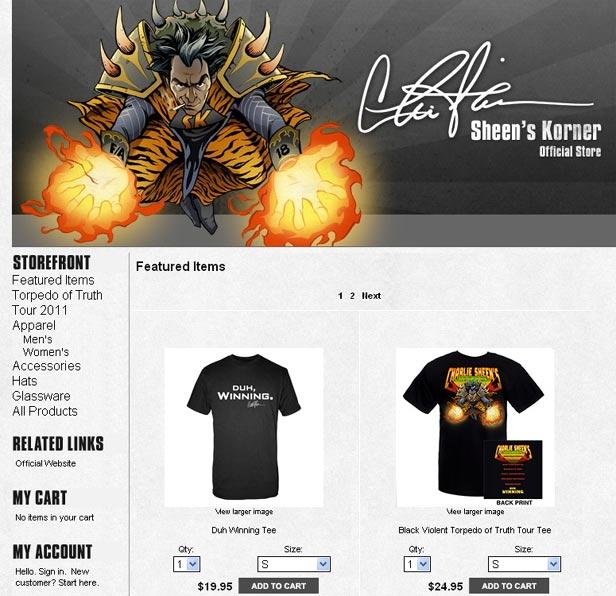 Charlie Sheen Store - Sheen Does e-commerce