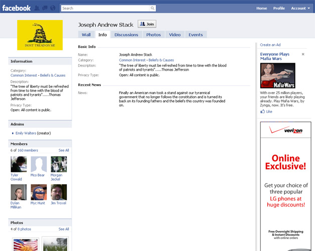 Facebook Users Set Up Fan Group(s) for Suicide Pilot