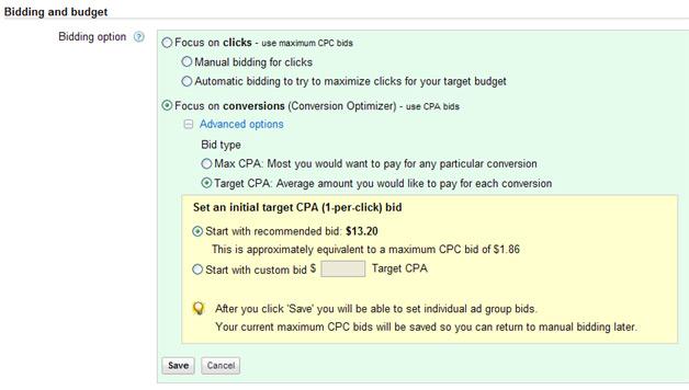 Google Conversion Optimizer - Target CPA bidding