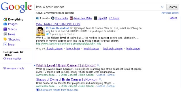 Wajam Shows Demand Media for Cancer Query