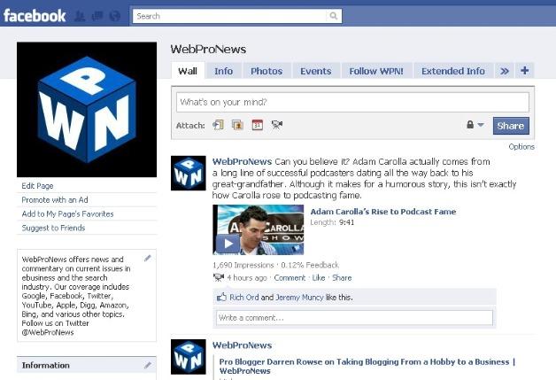 WebProNews on Facebook