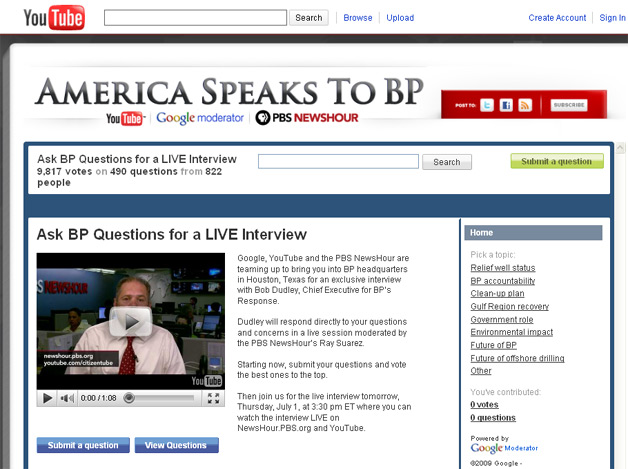 Ask BP Oil Spill Questions Via YouTube at 3:30 Eastern