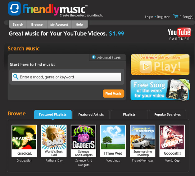 YouTube Partners with FriendlyMusic