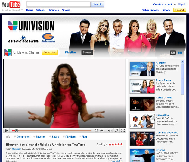 YouTube Launches its Univision Channel