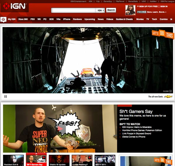 IGN front page