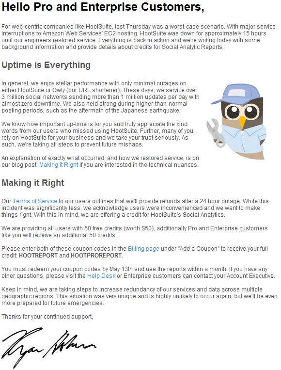 Hootsuite email about Amazaon outage