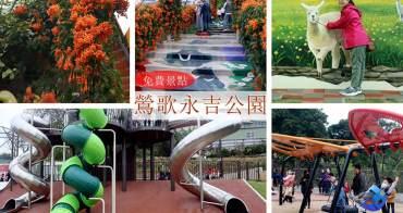 鶯歌永吉公園 | 新北免費親子公園4600坪/炮仗花/溜滑梯/3D立體彩繪