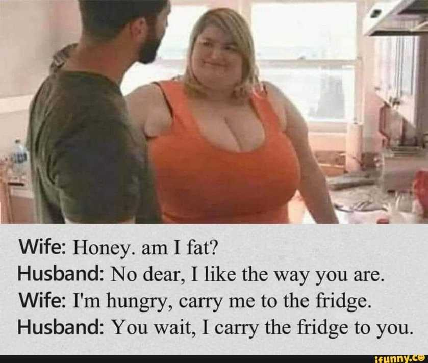 Wife: Honey. am I fat? Husband: No dear, I like the way you are. Wife: I'm hungry, carry me to the fridge. Husband: You wait, I carry the fridge to you.