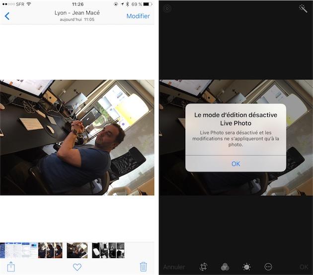 On peut modifier une Live Photo, mais iOS retire alors la vidéo associée à la photo… dommage.