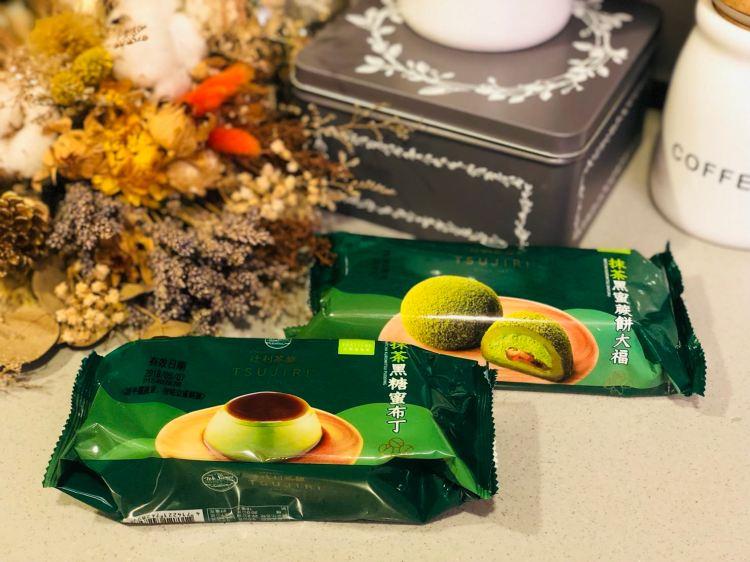 【平價美食】全聯抹茶季—抹茶黑蜜蕨餅大福&抹茶黑糖蜜布丁,日本TSUJIRI辻利茶舖聯名,超市也有好甜點