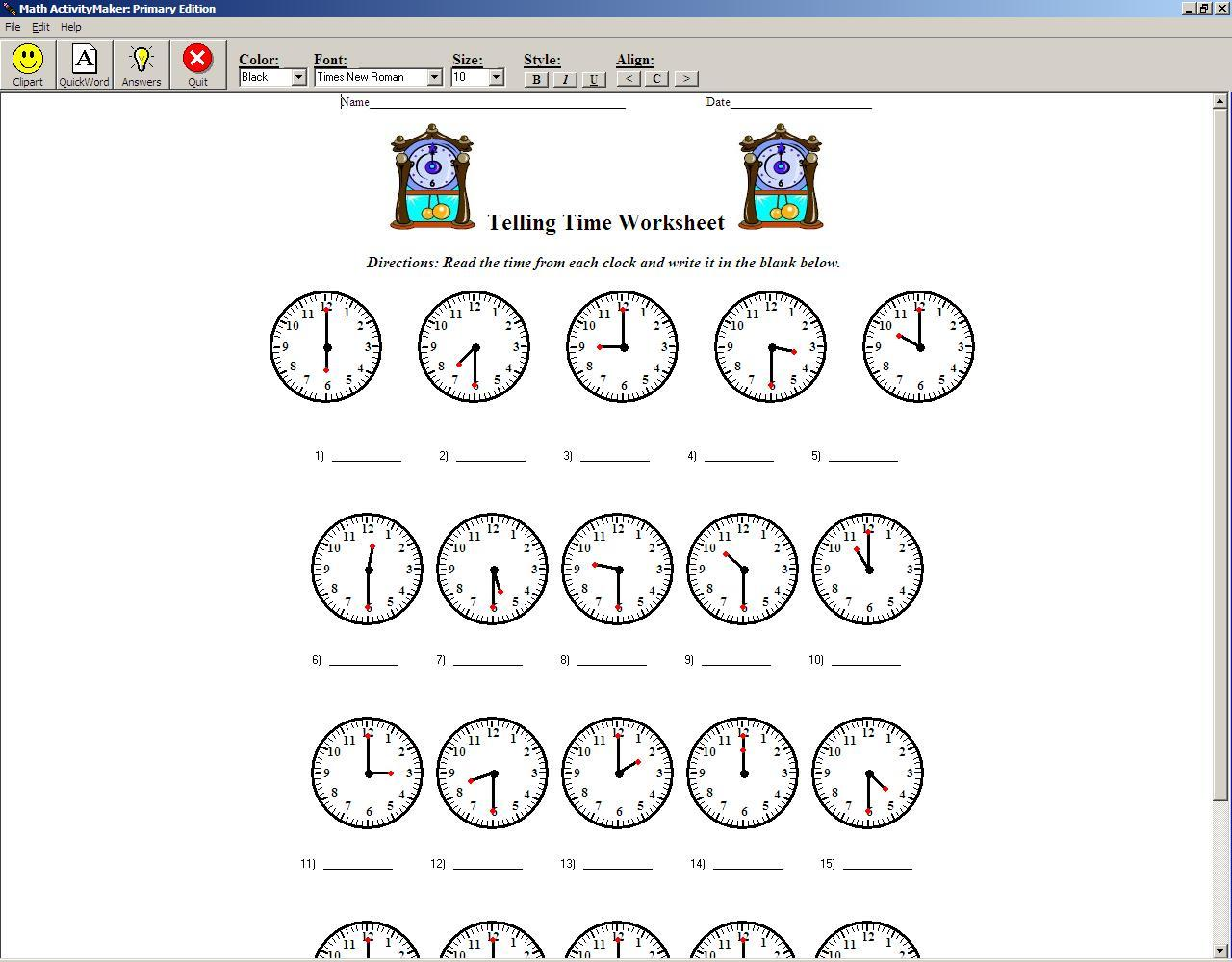 Math Activitymaker Primary Software Informer Screenshots