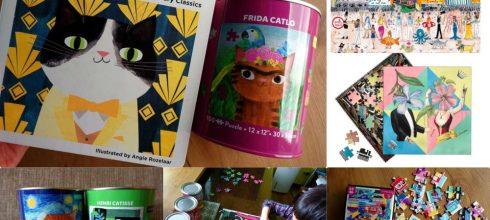 拼圖大集合 美國Mudpuppy Arty Cats100片拼圖收納罐 還有Glison藝術家設計拼圖
