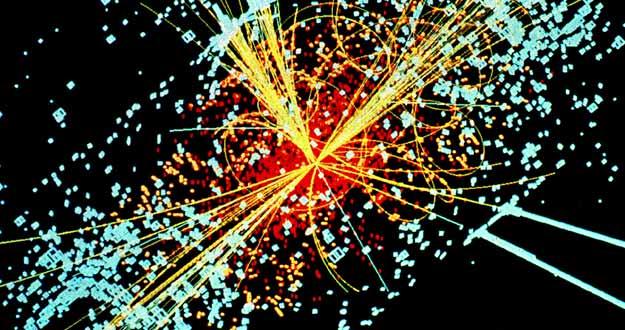 Una simulación del detector CMS del LHC, que muestra cómo se prevé que sean las trazas del bosón de Higgs.