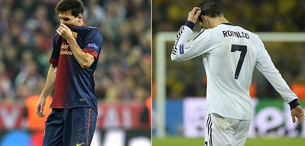 Messi y Ronaldo, en sus partidos contra Bayern Múnich y Borussia Dortmund.