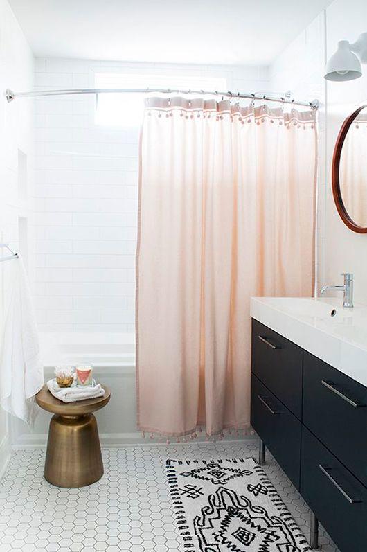 pink shower curtain with pom pom trim chic black and white bathroom bathroom design ideas