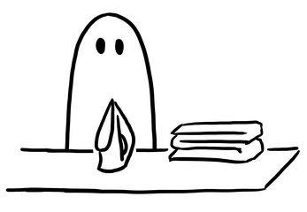 An image of a ghost folding sheets as part of an emotional solo rpg