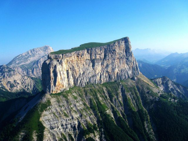 The flat limestone mesa of Mont Aiguille, France