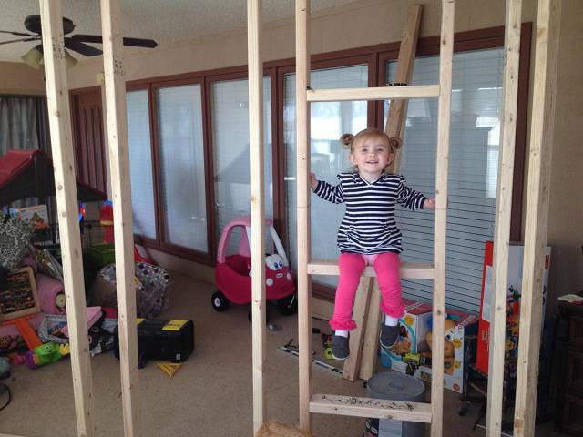 Dad Builds A Great Indoor Playhouse For His Kids