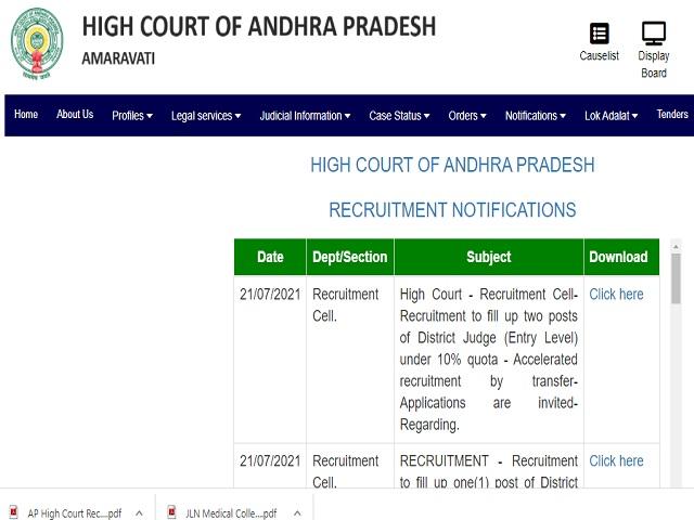 High Court of Andhra Pradesh Recruitment 2021: Civil Judge (Junior Division) Posts