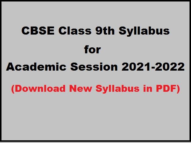 class9 syllabus 2021 2022