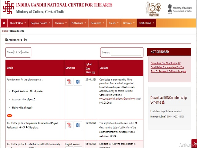 IGNCA Recruitment 2021: Apply 14 Project Assistant, Helper and Assistant Posts by 03 May
