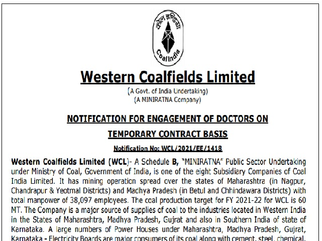 WCL Recruitment 2021 for 33 GDMO & Specialist Posts, Download Application Form @westerncoal.in