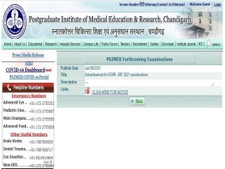 ICMR JRF Exam 2021 Short Notice Released, Apply Online @pgimer.edu.in/icmr.nic.in from 01 July