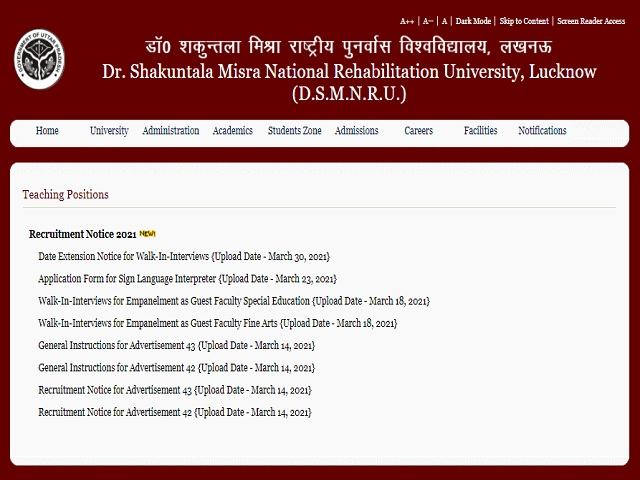 Apply Online for 96 Professor Posts @dsmru.up.nic.in
