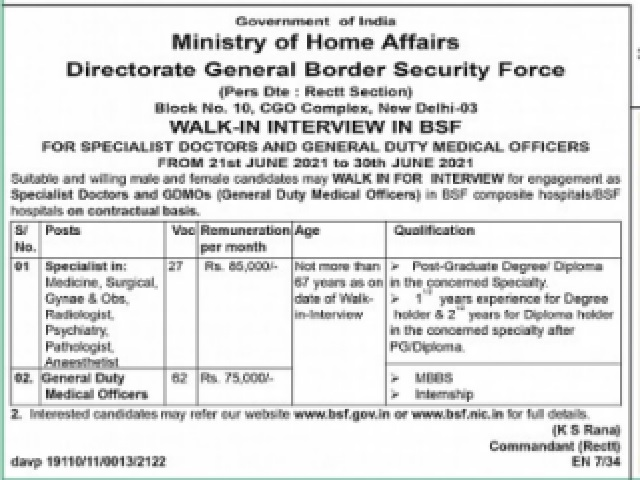Walk-In for GDMO & Specialist Posts from 21 June onwards