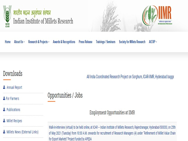 Indian Institute of Millets Research (IIMR) Recruitment 2021, Walk in for Research Manager Posts @millets.res.in