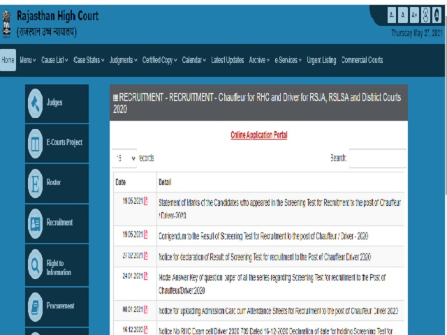 Rajasthan High Court Chauffeur Marks 2021 Released @hcraj.nic.in, Download Here