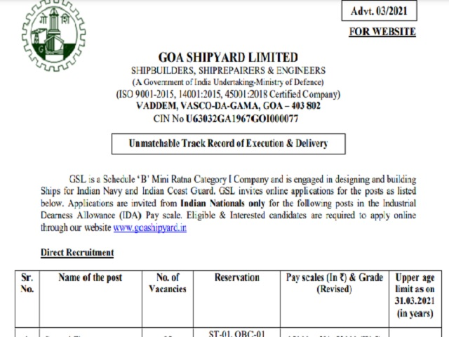 Goa Shipyard Recruitment 2021 for 137 Fitter, Welder, Nurse and Other Posts , Apply Online @ goashipyard.in