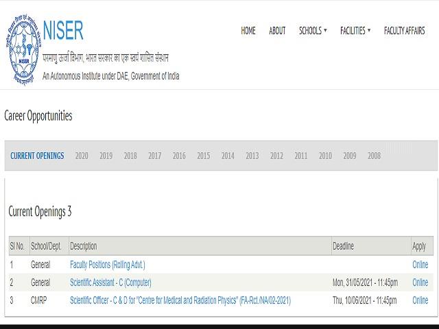 Apply Online for Scientific Officer C & D Posts @niser.ac.in