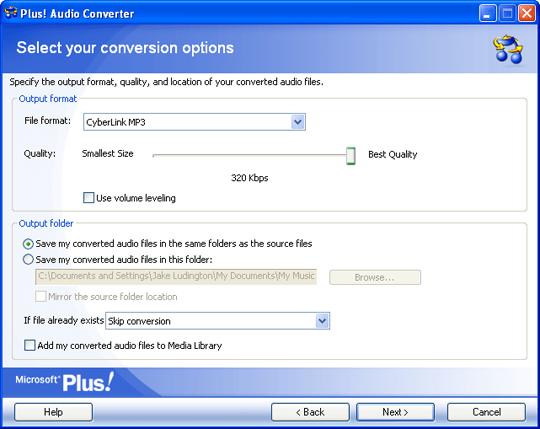 Audio Converter Options