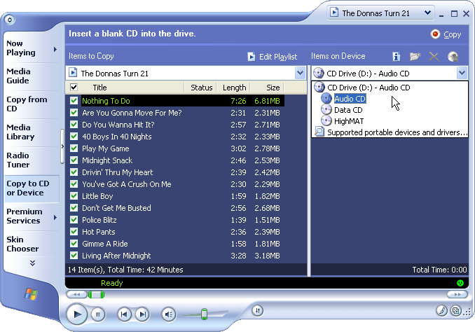 Windows Media Player Burn Process