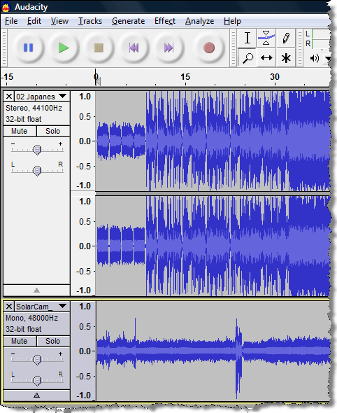 how to combine two audio tracks in audacity