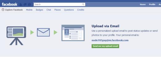 Facebook upload email