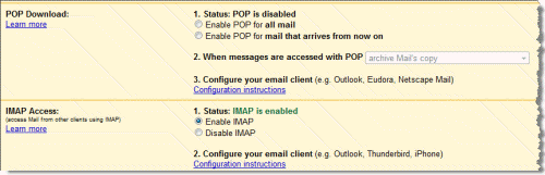 Gmail POP3 and IMAP Settings