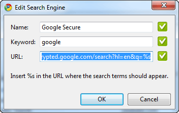 Google Secure Search default Chrome search
