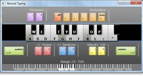 Mixcraft Musical Typing Keyboard