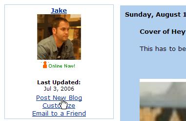 MySpace blog post