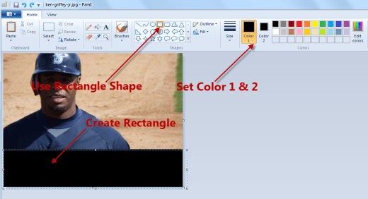 Add text to a photo with Paint shapes settings